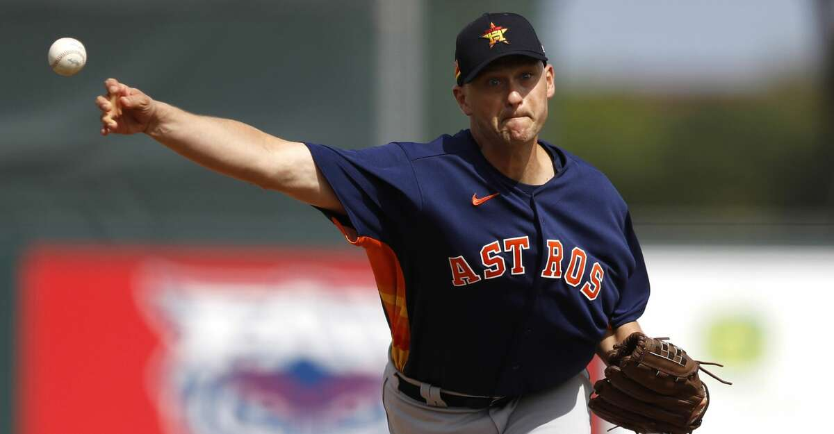 Houston Astros pitcher Jared Hughes throws a pitch against the St. Louis Cardinals during the third inning of a spring training baseball game, Tuesday, March 3, 2020, in Jupiter, Fla. (AP Photo/Julio Cortez)