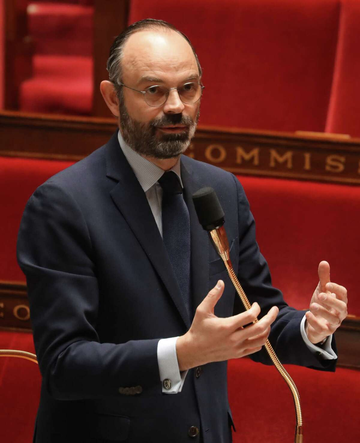 Prime minister Edouard Philippe speaks during an extraordinary session of questions to the government at the National Assembly in Paris on March 19, 2020 as Parliament resumes with limited number of MPs for urgent matters linked to the novel coronavirus (COVID-19). - From midday on March 17, French have been confined to their homes. France is scrambling to contain the outbreak of the virus that has killed over 260 and infected more than 9,100 in the country. (Photo by Ludovic MARIN / POOL / AFP) (Photo by LUDOVIC MARIN/POOL/AFP via Getty Images)
