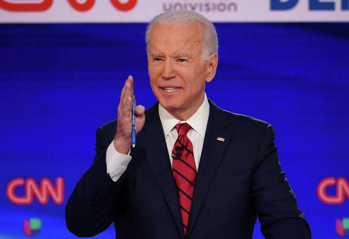 (FILES) In this file photo taken on March 15, 2020 Democratic presidential hopeful former US vice president Joe Biden participates in the 11th Democratic Party 2020 presidential debate in a CNN Washington Bureau studio in Washington, DC. - Biden easily won the Florida primary, today's biggest prize, on March 17, 2020, according to a projection by Edison Media Research, as voting continues in Arizona and Illinois. (Photo by MANDEL NGAN / AFP) (Photo by MANDEL NGAN/AFP via Getty Images)