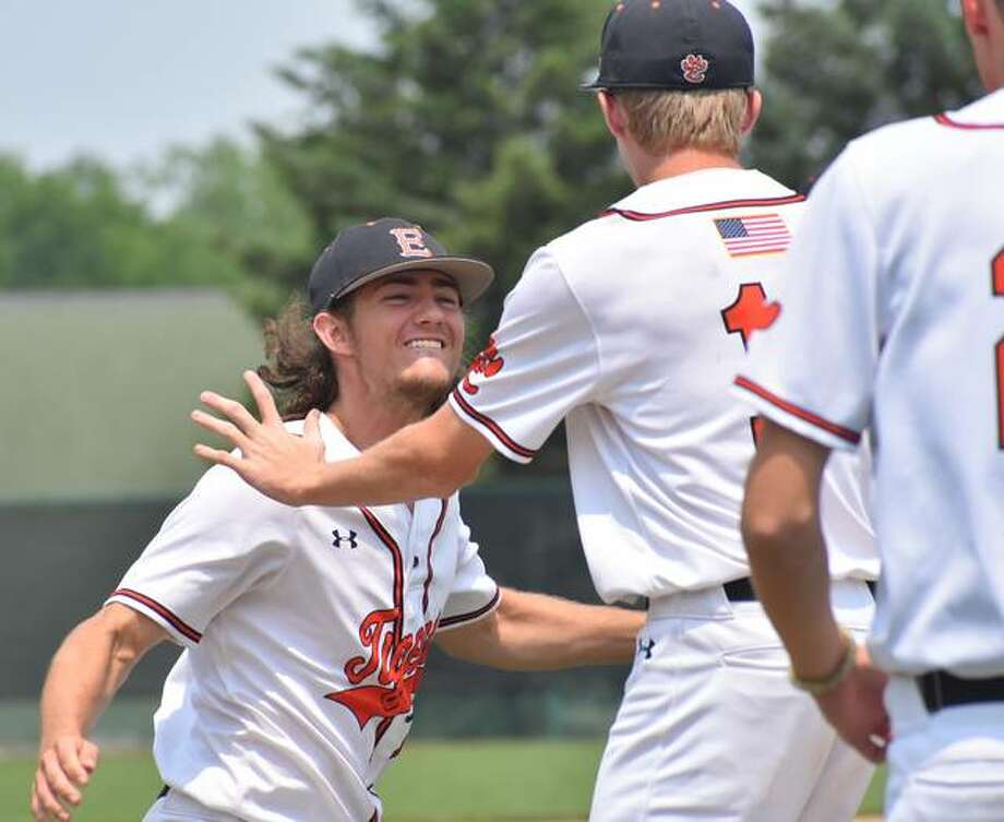 Edwardsville pitcher Collin Salter celebrates after closing out the win in the sectional championship game. Photo: Matt Kamp|The Intelligencer