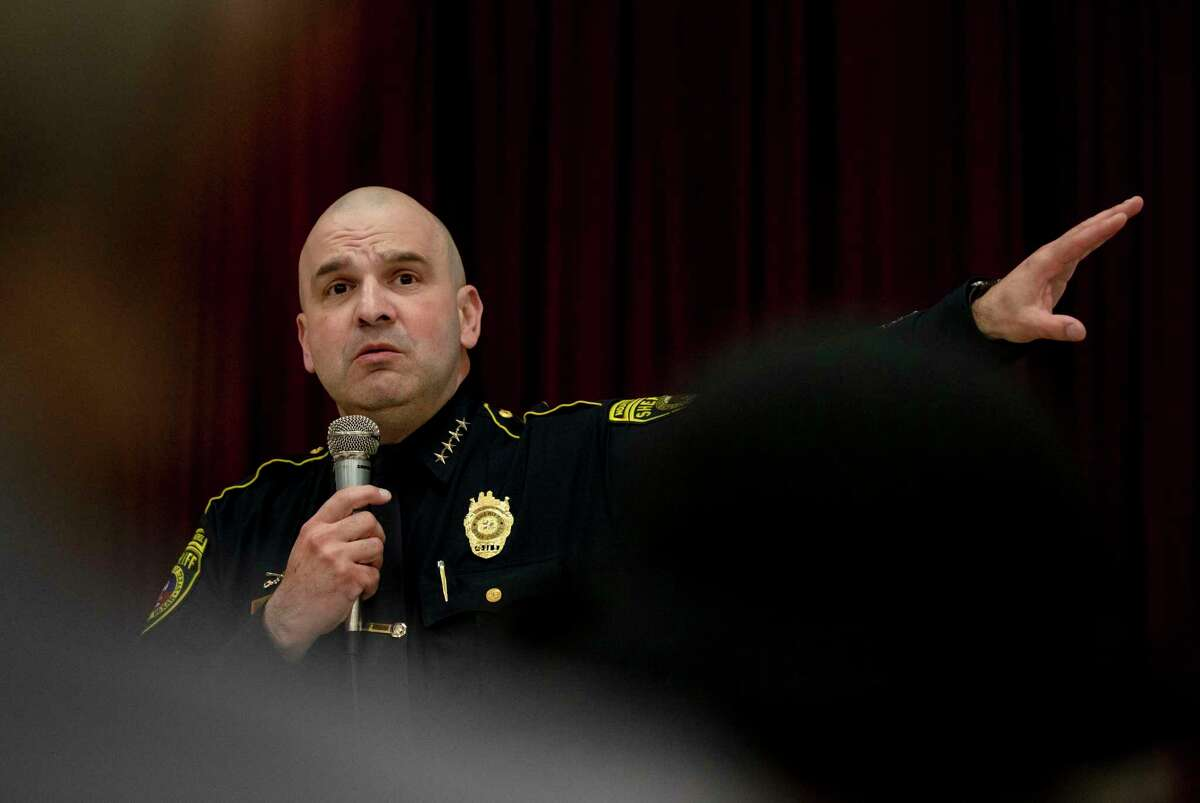 Bexar County Sheriff Javier Salazar speaks to community members at a public forum at John Glenn Elementary School on Feb. 27. During a news conference Thursday, Salazar said violent crime in the county was down 23 percent since the onset of the coronavirus pandemic.