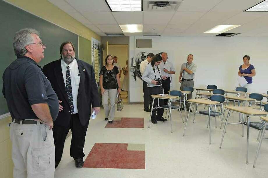 People look around at a finished social studies room during a walking tour of Niskayuna High School on Tuesday.  (Lori Van Buren / Times Union) Photo: Lori Van Buren