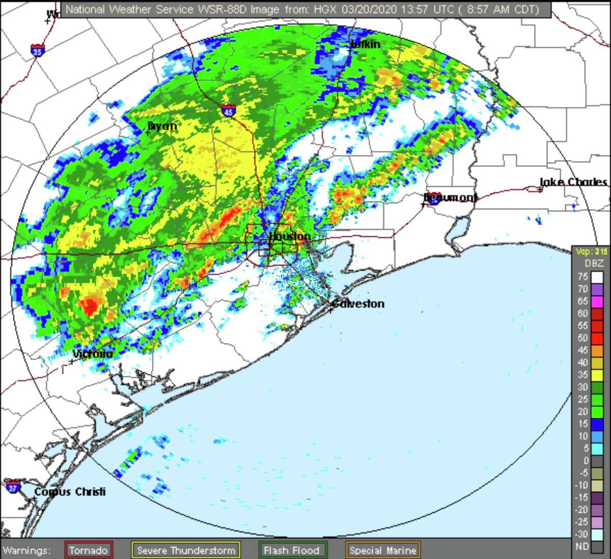 A radar image over Houston on Friday, March 20, 2020.