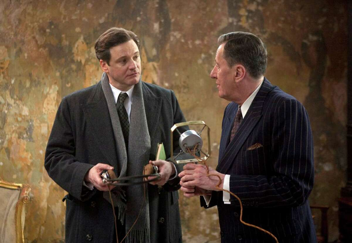 Collin Firth, left, and Geoffrey Rush are shown in a scene from,