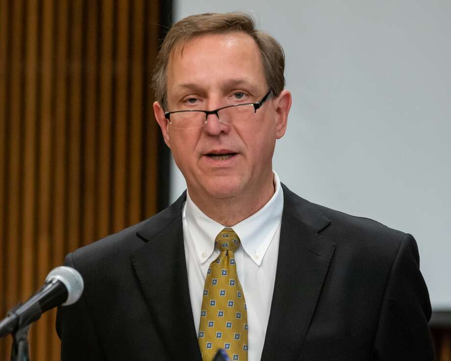 Jefferson County Judge Jeff Branick talks about the coronavirus outbreak as the Jefferson County mayors and the five county judges held a joint press conference to introduce a new hotline phone number and talk about the virus situation in the Jefferson County Courthouse on March 19, 2020. Fran Ruchalski/The Enterprise Photo: Fran Ruchalski/The Enterprise / 2019 The Beaumont Enterprise