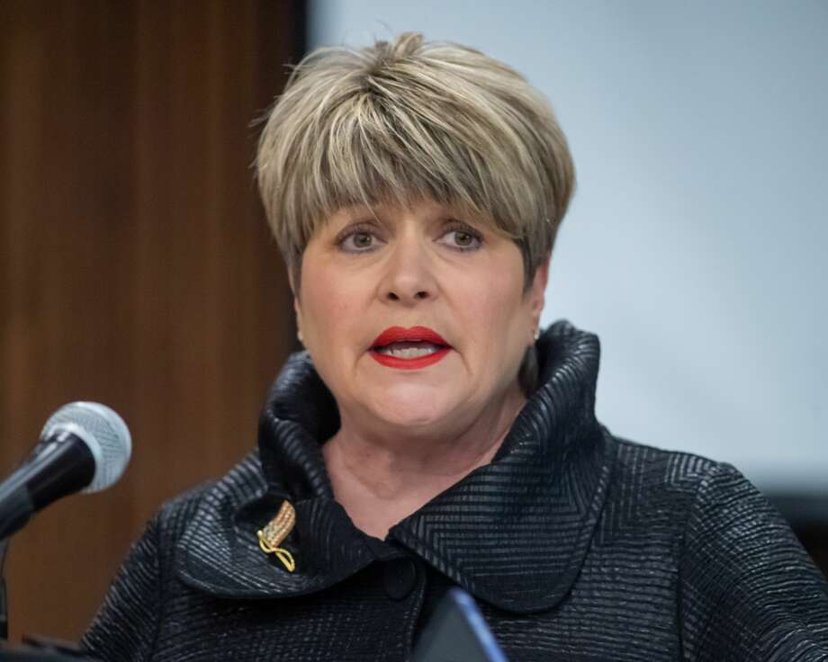 Beaumont Mayor Becky Ames talks about the city's response to the coronavirus outbreak. Jefferson County mayors and the five county judges held a joint press conference to introduce a new hotline phone number and talk about the virus situation in the Jefferson County Courthouse on March 19, 2020. Fran Ruchalski/The Enterprise Photo: Fran Ruchalski/The Enterprise / 2019 The Beaumont Enterprise