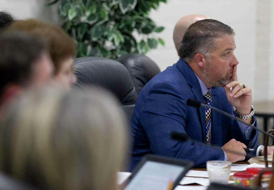 FILE PHOTO Cliff Williams, president of the Willis ISD School Board, listens during the public comment portion of a Willis ISD school board meeting, Monday, Nov. 11, 2019. Photo: Jason Fochtman, Houston Chronicle / Staff Photographer / Houston Chronicle