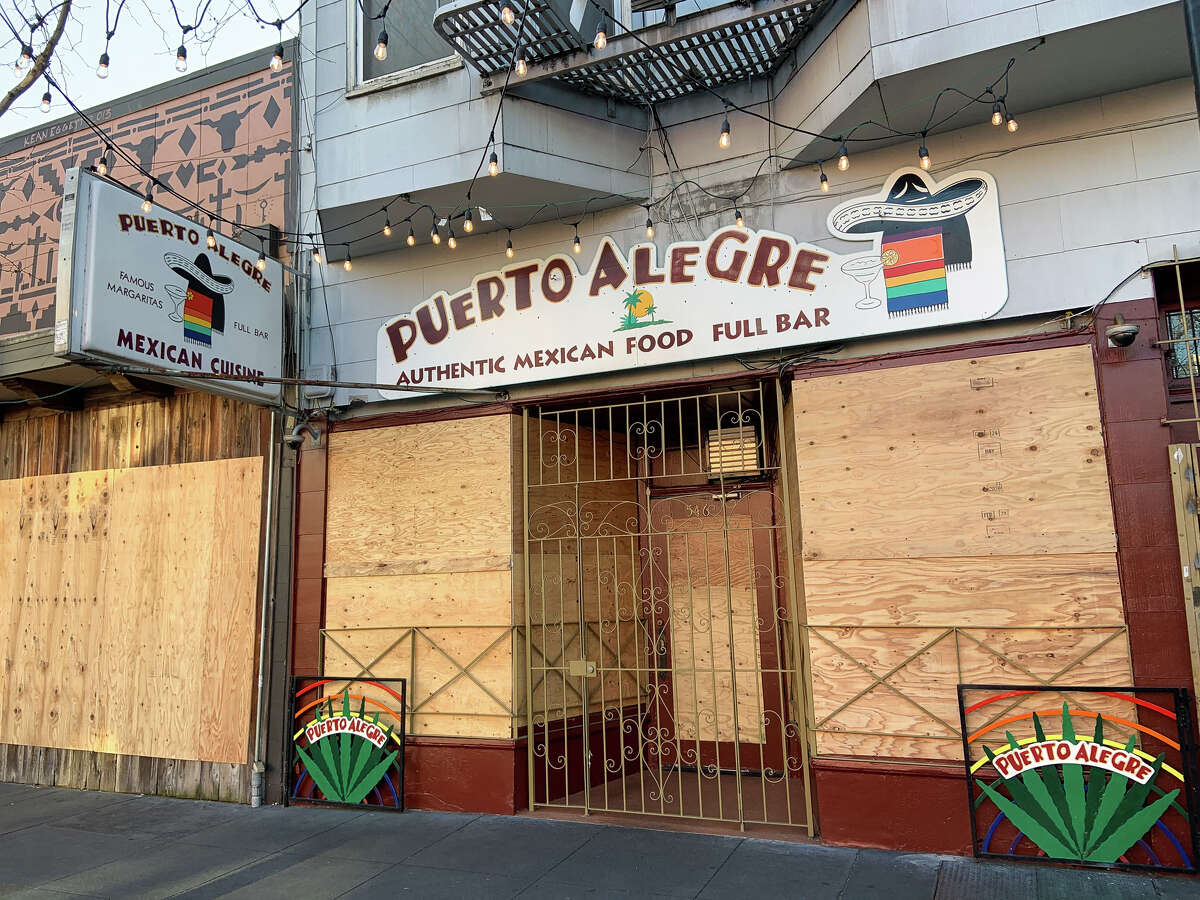 Puerto Alegra on San Francisco's Valencia Street was temporarily closed on March 19, 2020, amid a shelter-in-place order to prevent the spread of COVID-19.