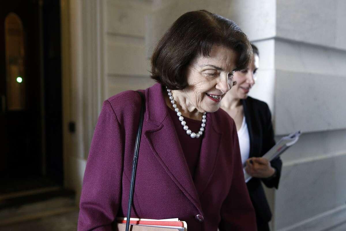 Sen. Dianne Feinstein, D-Calif., departs on Capitol Hill in Washington.