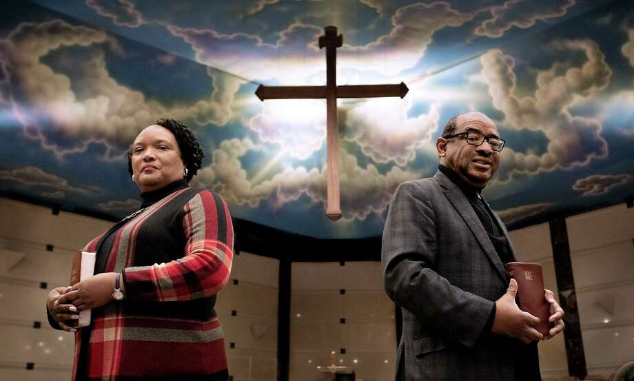The Rev. Robyn Anderson (L) and Rev. Moses Harvill at Cross Center Church in Middletown. They are working together to provide services during this time of social distancing. Photo: Melanie Stengel