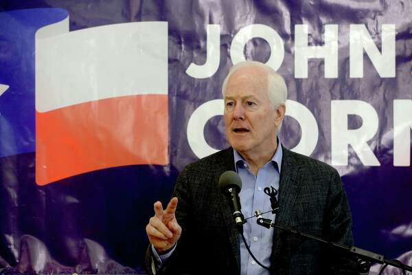 """Senator John Cornyn addresses the gathering during a campaign rally urging Texans to """"Saddle Up 'n Vote"""" at the Jefferson County Republican Party Headquarters in Port Neches Monday. Cornyn was joined by several other candidates and politicians at the event as candidates from both parties make their final push for Southeast Texas voters leading up to Super Tuesday. Photo taken Monday, March 2, 2020 Kim Brent/The Enterprise"""