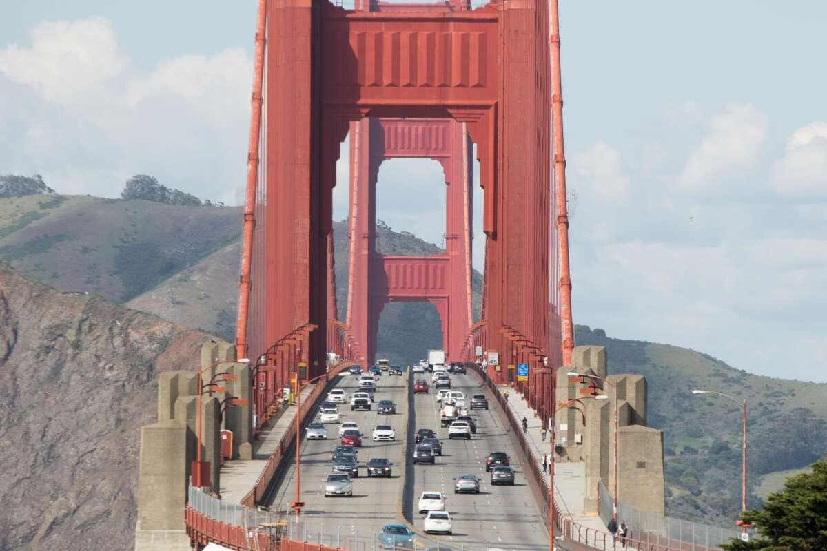 File photo of traffic across the Golden Gate Bridge in San Francisco, Calif.