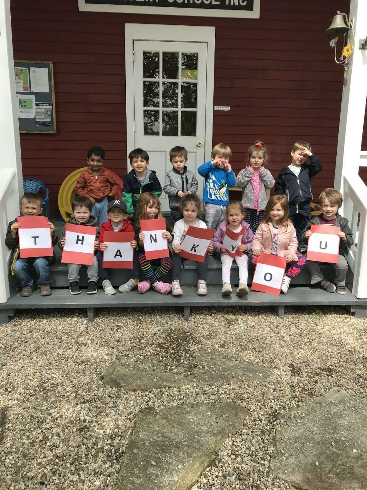 Students at Community Nursery School thank all who made the school's 80th anniversary party last yer possible.