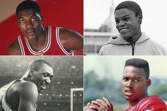 UH athletic icons (clockwise from top left) Hakeem Olajuwon, Carl Lewis, Andre Ware and Elvin Hayes are the No. 1 seeds in our bracket to determine the greatest Cougars athlete.