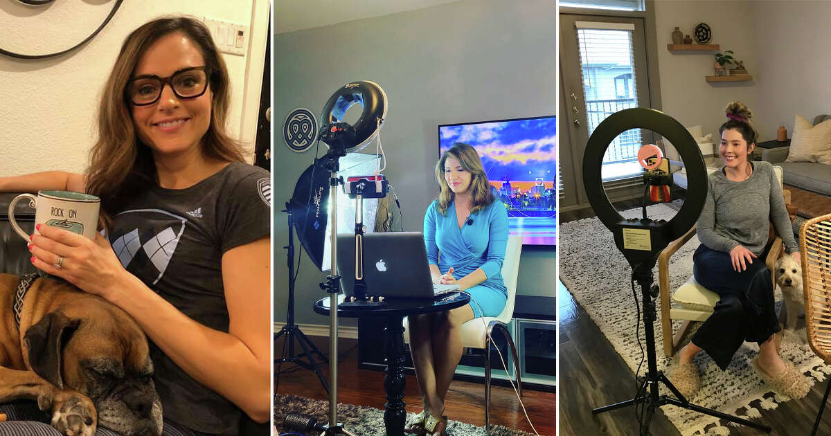 Click through the photos to see anchors who are turning their living rooms into TV studios while working from home during the coronavirus pandemic.