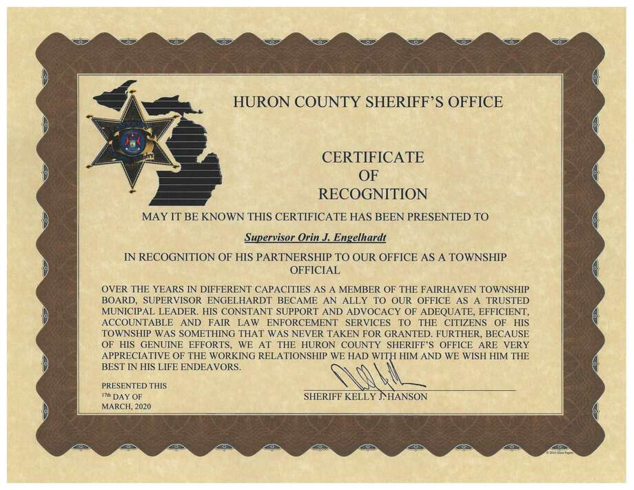 The certificate Engelhardt received from the Huron County Sheriff's department at this week's Fairhaven Township meeting. (Submitted Photo)