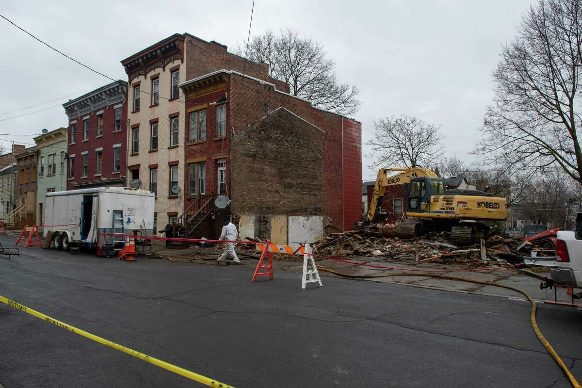 A block on Clinton Street scheduled for demolition is seen in Albany, N.Y. on Friday, Mar. 20, 2020. (Jenn March, Special to the Times Union)
