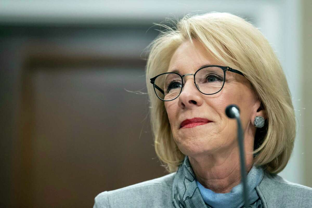 U.S. Education Secretary Betsy DeVos testifies on Capitol Hill on Feb. 27 in Washington. She announced Friday that local school districts affected the coronavirus may opt out of standardized testing for the 2019-20 school year. (AP Photo/Alex Brandon, File)