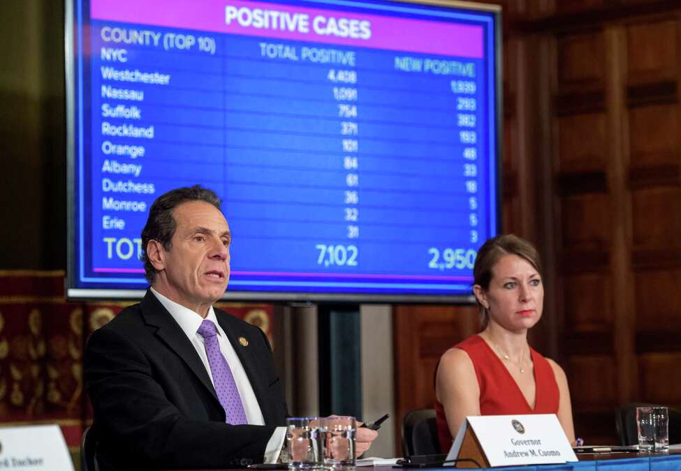 Gov. Andrew Cuomo holds a press briefing on state coronavirus responses on Friday, March 20, 2020, in the Red Room at the Capitol in Albany, NY. (Office of Gov. Andrew Cuomo)