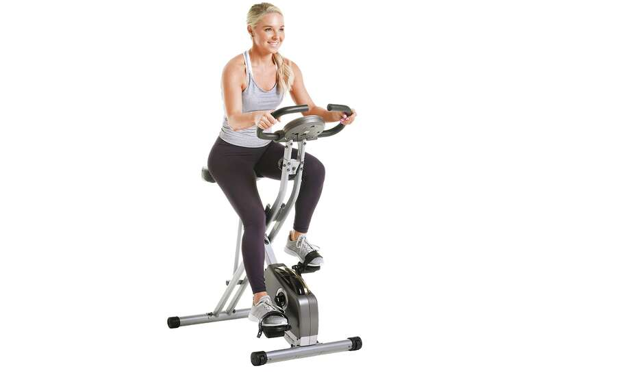 Exerpeutic Folding Magnetic Upright Exercise Bike with Pulse, $149 (Normally $199.99) Photo: Amazon