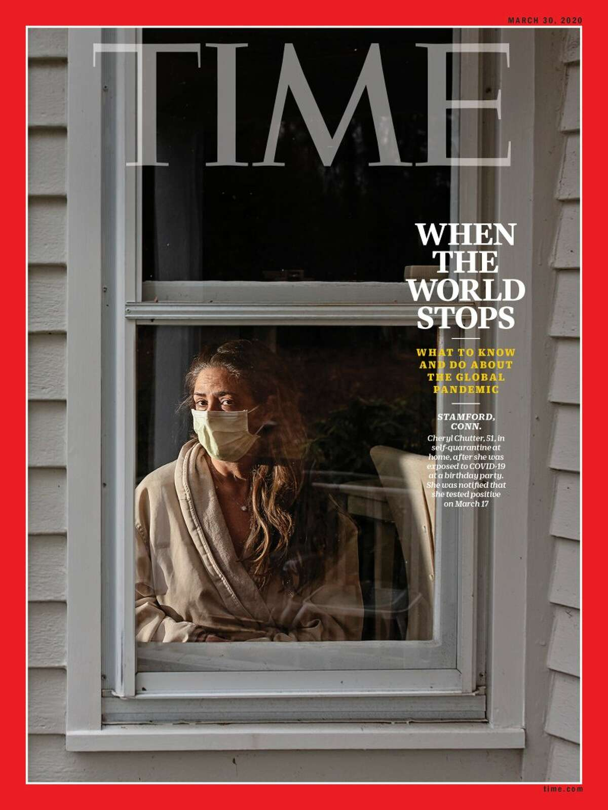 Stamford resident Cheryl Chutter is featured on one of TIME Magazine's coronavirus issues.