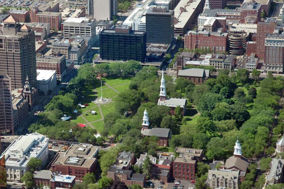 An aerial perspective of the New Haven Green Photo: VM Williams / Hearst Connecticut Media File