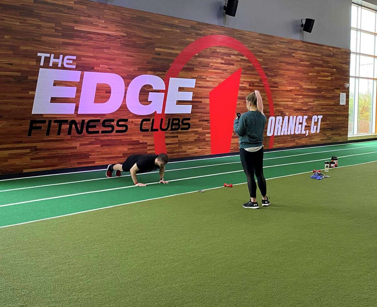 Luke Yoder and Edge Fitness personal trainer led an online class from the Orange, Conn., Edge Fitness club location.
