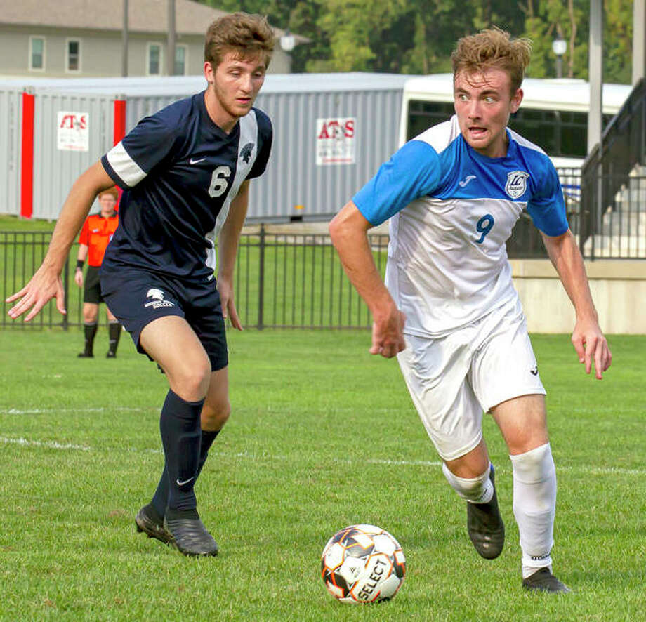 LCCC's Luke Mellon, right, from Ontario, Canada moves the ball in a game last fall. Mellon is one of five Canadians on the LC men's soccer team. Photo: Jan Dona | For The Telegraph