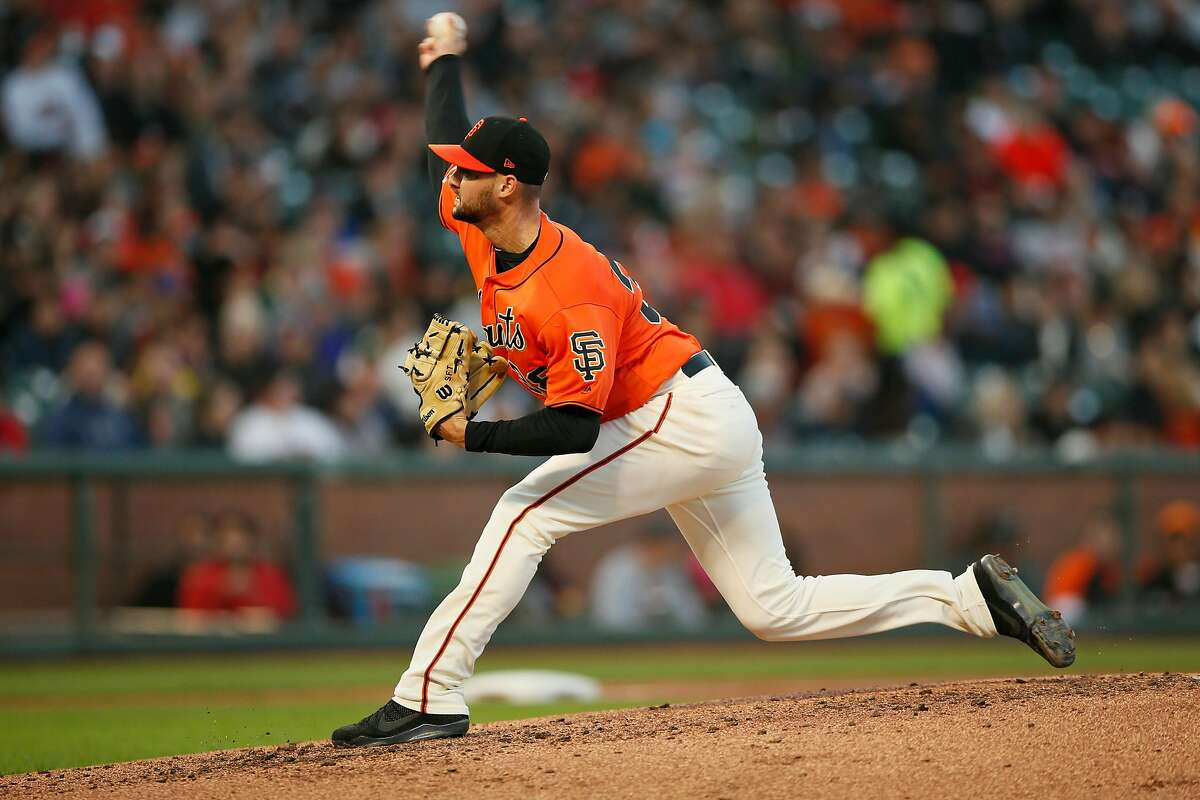 San Francisco Giants starting pitcher Tyler Beede (38) throws against the New York Mets in the fourth inning of an MLB game at Oracle Park, Friday, July 19, 2019, in San Francisco, Calif.