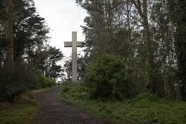 The trail that leads to the Mount Davidson Cross at the top of Mount Davidson in San Francisco, Calif. on March 20, 2020.