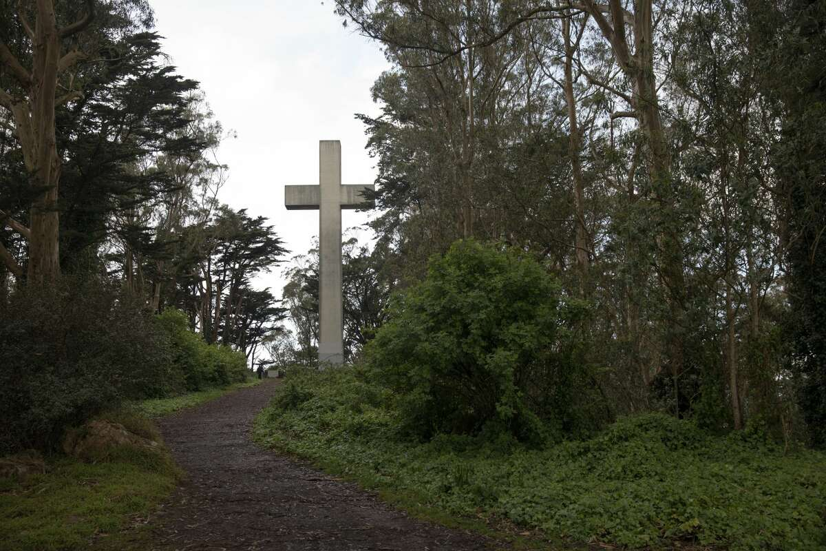 The trail that leads to the Mount Davidson Cross at the top of Mount Davidson in San Francisco on March 20, 2020.