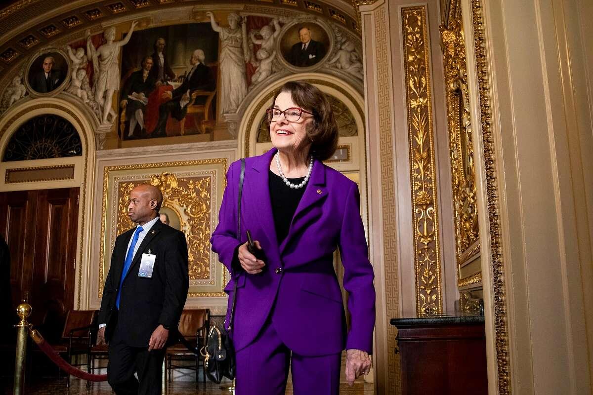 Senator Dianne Feinstein (D-CA) heads to the Senate floor for the Senate impeachment trial of President Donald Trump on January 24, 2020 in Washington, D.C. (Samuel Corum/Getty Images/TNS)