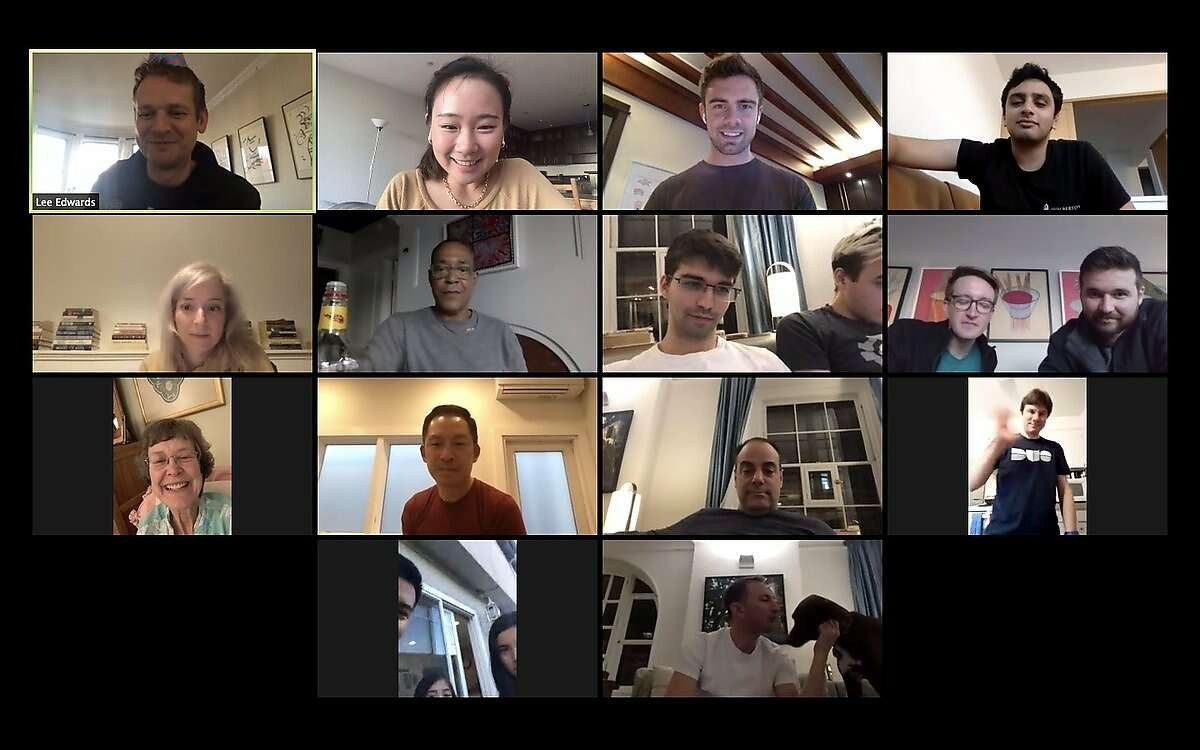Lee Edwards (top left) celebrates his 36th birthday via video chat with friends around the country on Monday, March 16, 2020.