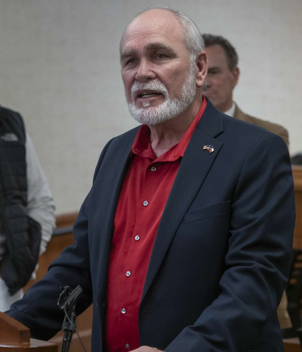 Midland County Judge Terry Johnson, answers questions 03/20/2020 during a press conference at the Midland County Annex building. Tim Fischer/Reporter-Telegram