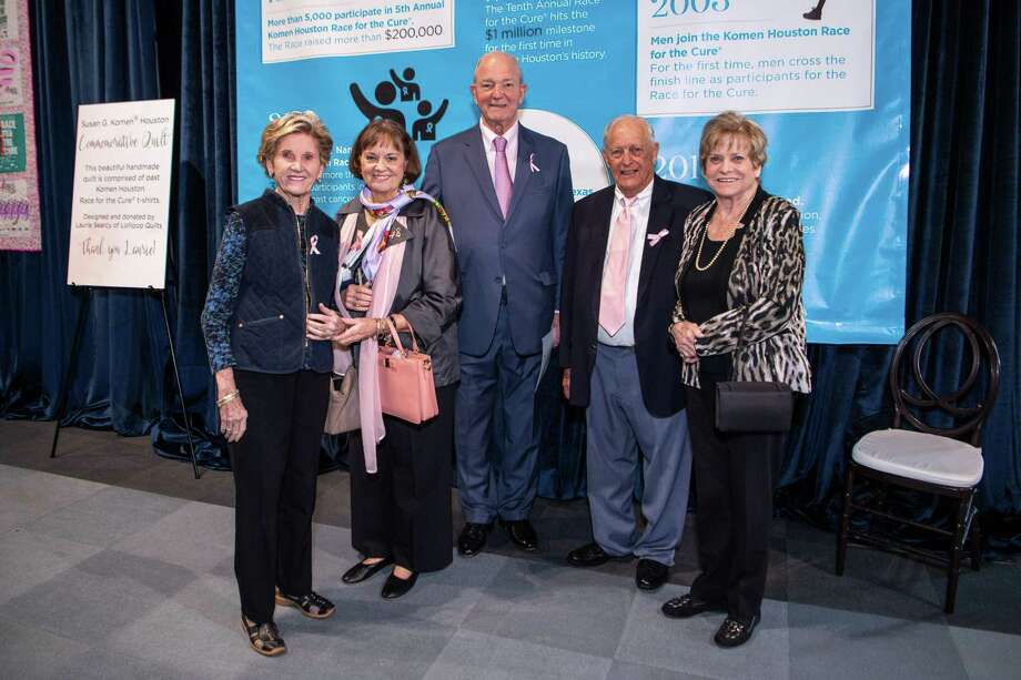 Susan G. Komen Houston kicked off its 30th anniversary with the inaugural More Than Pink Luncheon on Friday, March 6, 2020, at the Ballroom at Bayou Place at 500 Texas Ave. in Houston. Shown here are Shirley Coskey; Jane and Stephen Marmion; Bubba Coskey; and Carolyn Reinecker. Photo: Courtesy Of Susan G. Komen Houston, Owner/Photographer / © Michelle Watson/CatchLight Gr / Michelle Watson