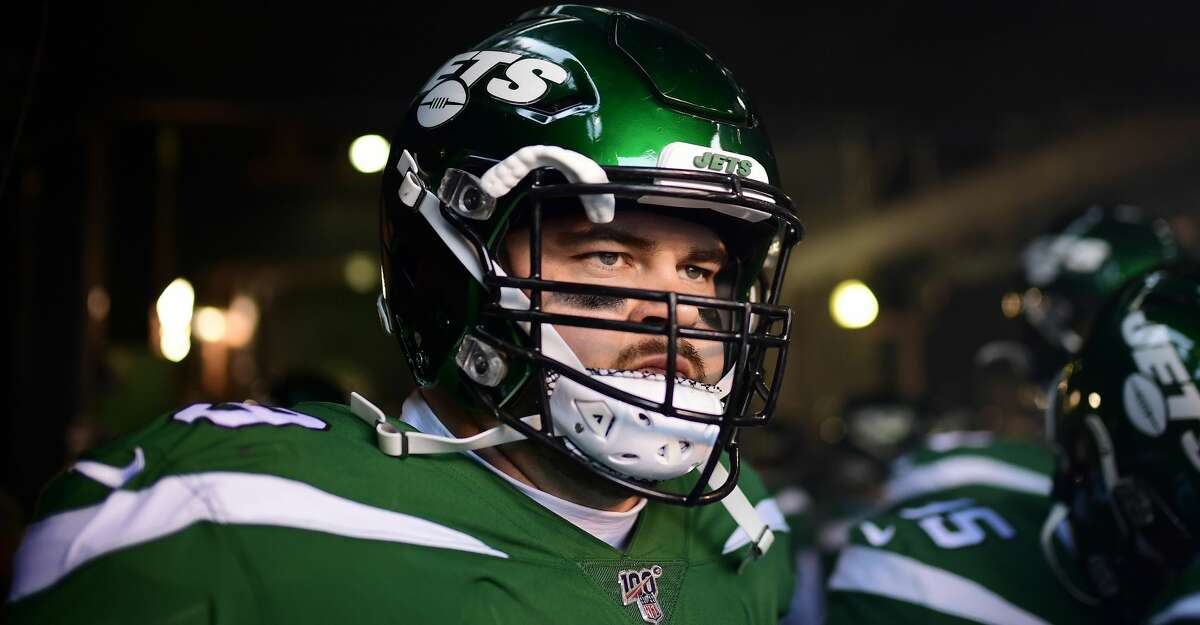 Brent Qvale #79 of the New York Jets takes the field prior to the game against the Pittsburgh Steelers at MetLife Stadium on December 22, 2019 in East Rutherford, New Jersey. (Photo by Steven Ryan/Getty Images)
