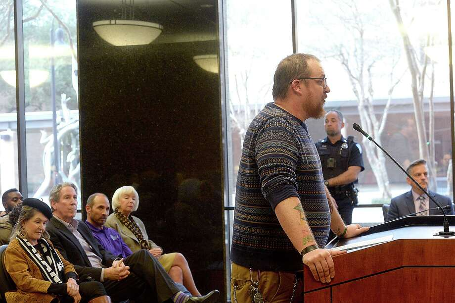 T. J. Rodman speaks during Beaumont City Council's public comment portion regarding the city's proposal to purchase the vacant AT&T Building on Main Street. The city's plan includes demolition of the structure with the hope of making it available for redevelopment.  Photo taken Tuesday, January 15, 2019  Photo by Kim Brent/The Enterprise Photo: Kim Brent / The Enterprise / BEN