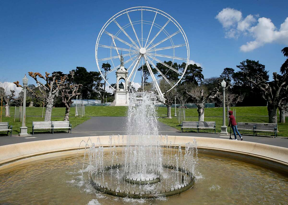 The 150-foot high SkyStar Ferris wheel looks over the eastern end of the Music Concourse at Golden Gate Park.