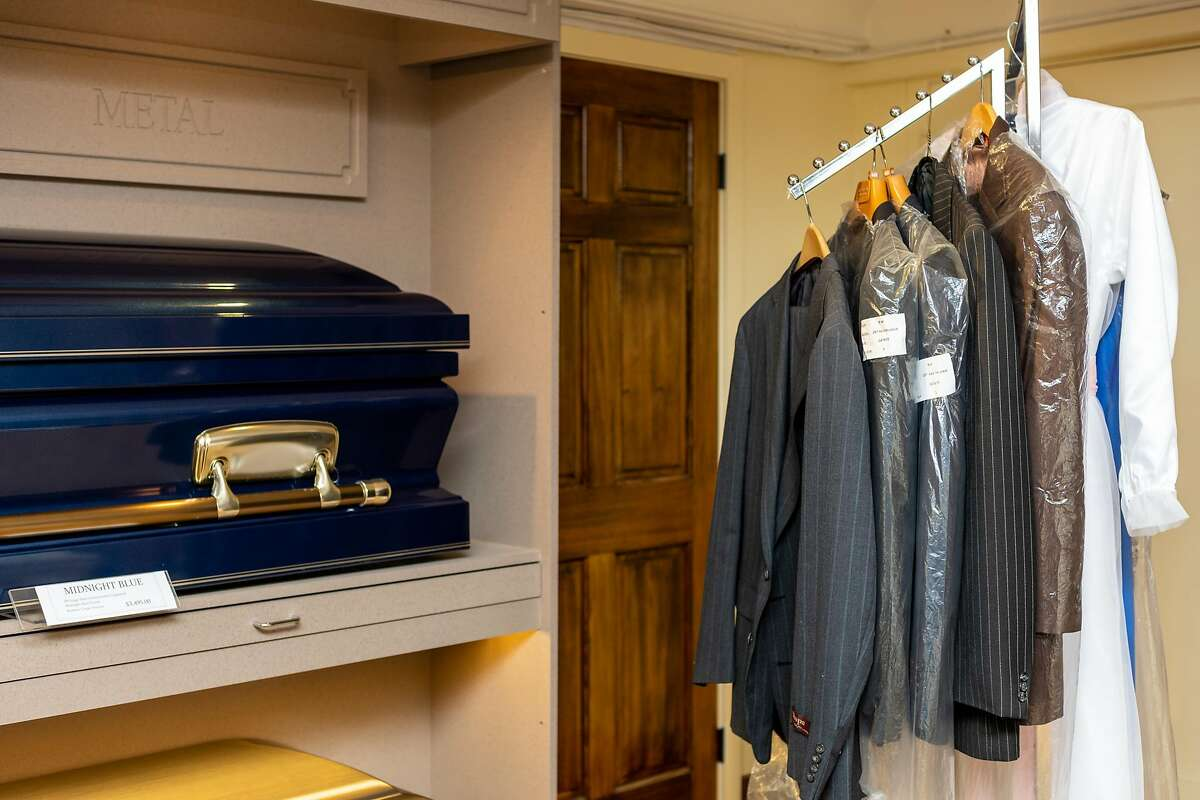 The casket showroom at Duggan's Funeral Service on Friday, March 20, 2020, in San Francisco, Calif.