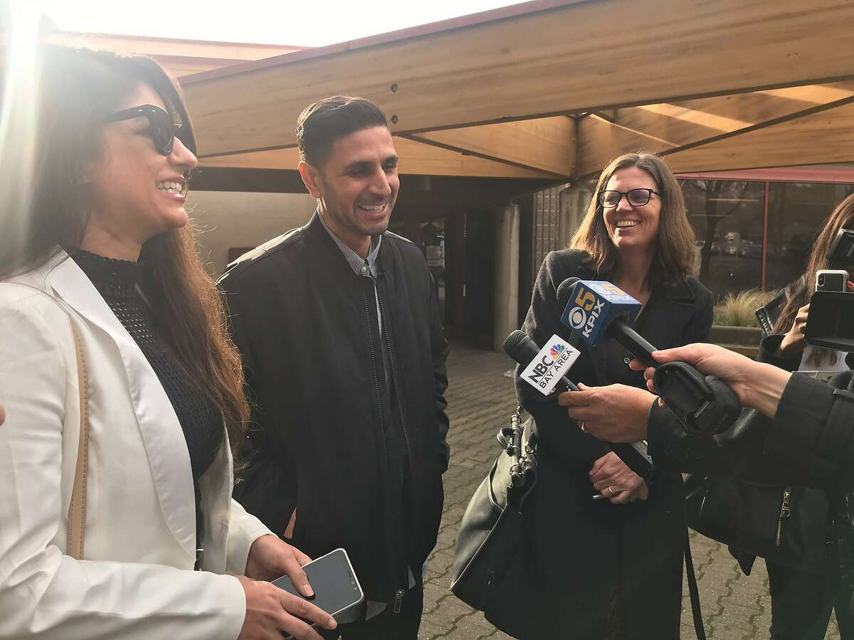 Adnan Khan, a former San Quentin State Prison inmate, speaks to media outside the Martinez Detention Facility. Khan was released Friday after a Contra Costa County judge vacated his murder sentence.