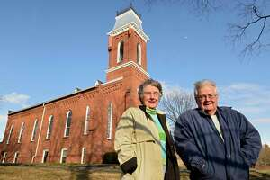 Eleanor Bode John Shanahan stand outside Gilead Lutheran Church on Wednesday, March 4, 2020 in Troy, N.Y. (Lori Van Buren/Times Union)