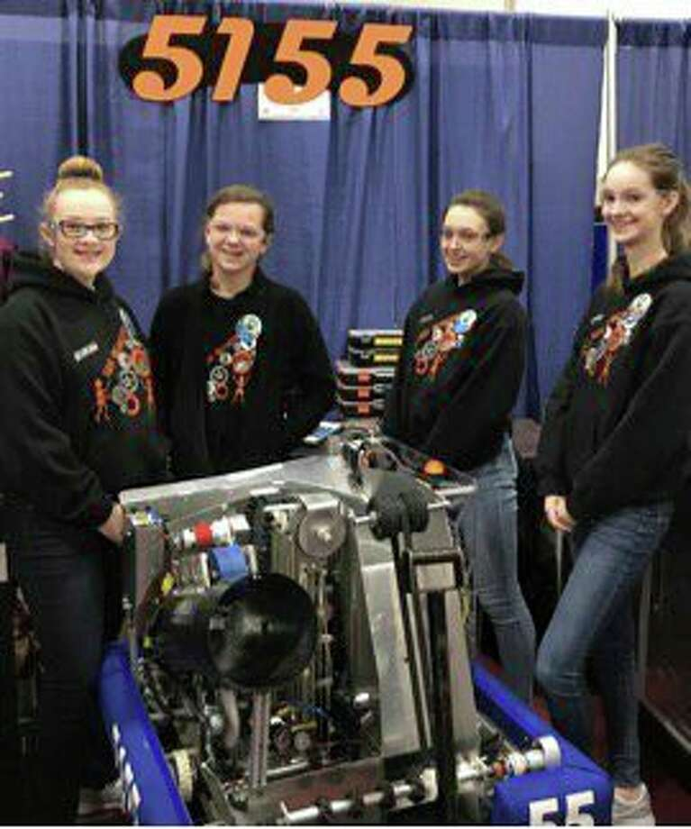 Pictured are Eric McCarty, Erica Klee, Lily Kieliszewski and Sarah Peplinski with this year's robot. (Submitted Photo)