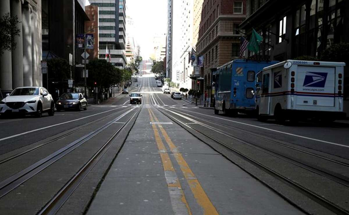 California Street in the Financial District had little of its usual daytime traffic during the week