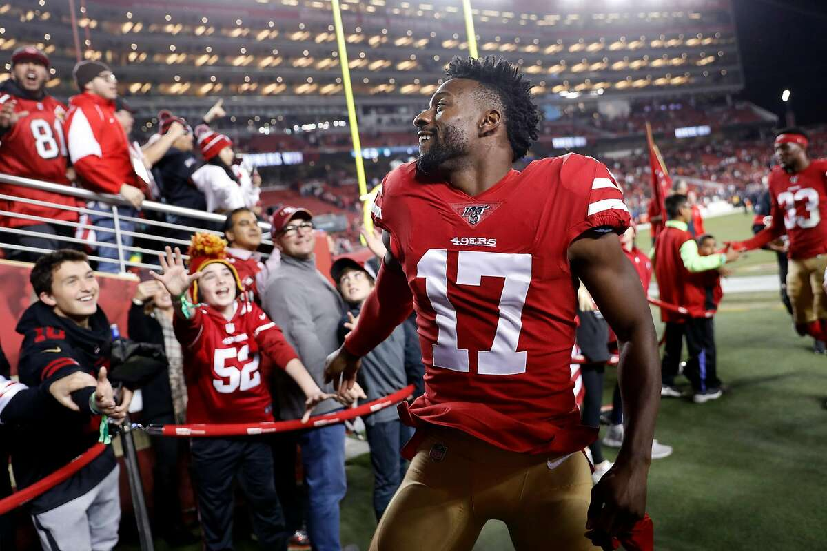 San Francisco 49ers' Emmanuel Sanders after Niners' 37-8 win over Green Bay Packers in NFL game at Levi's Stadium in Santa Clara, Calif., on Sunday, November 24, 2019.