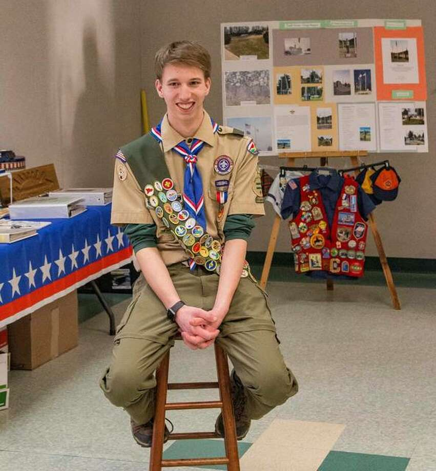 William Roderfeld, 17, of Alton, has achieved the rank of Eagle Scout with the Boy Scouts of America. For his project, he placed three flag poles at St. Ambrose Catholic Church and School in Godfrey.
