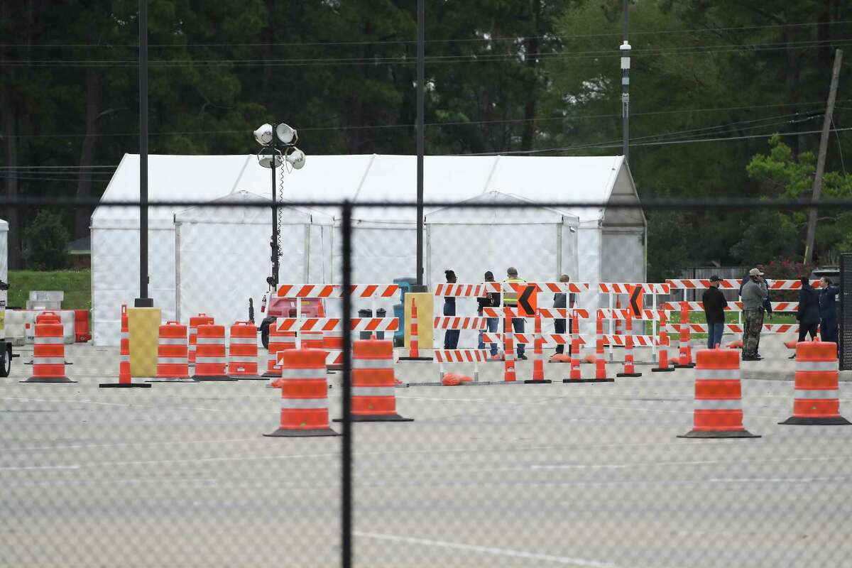 A view of the COVID-19 testing site where first responders and medical staff who have symptoms and have been pre-authorized to test Saturday, March 21, 2020, in Houston. Harris County Public Health and Houston Health Department and are not identifying the locations of the sites to prevent people from showing up and being turned awa.