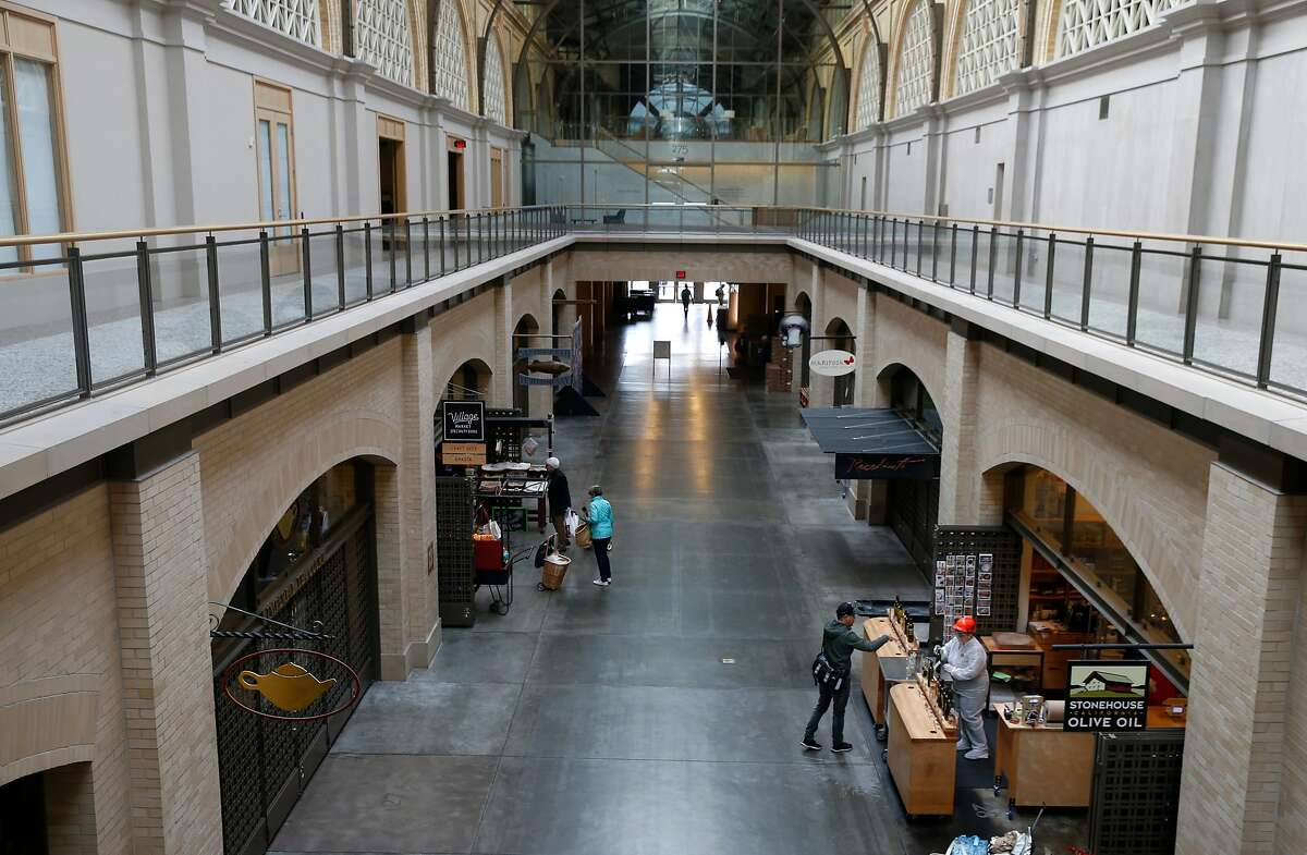 Usually teeming with weekend shoppers, the Ferry Building Marketplace resembles a ghost town in San Francisco, Calif. on Saturday, March 21, 2020 as the shelter in place order remains in effect to slow the spread of the coronavirus pandemic.
