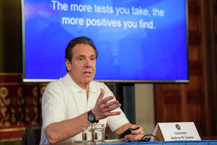 Gov. Andrew Cuomo holds a press briefing on Coronavirus on Saturday, March 21, 2020, in the Red Room at the Capitol in Albany, NY. (Office of Gov. Andrew Cuomo)
