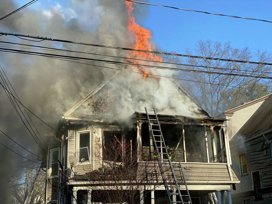 A fire in a home on Blake Street in New Haven, Conn., on Saturday, March 21, 2020. Photo: Contributed Photo / New Haven Fire Twitter