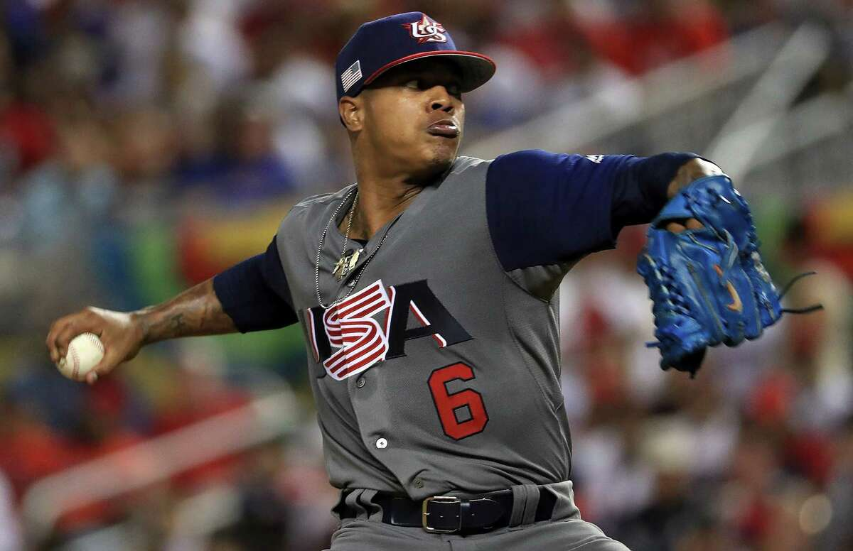 MIAMI, FL - MARCH 11: Marcus Stroman #6 of the United States pitches during a Pool C game of the 2017 World Baseball Classic against the Dominican Republic at Miami Marlins Stadium on March 11, 2017 in Miami, Florida. (Photo by Mike Ehrmann/Getty Images)